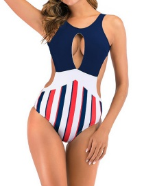 Fashion Dark Blue Openwork Stitching Striped Printed Open-back Swimsuit