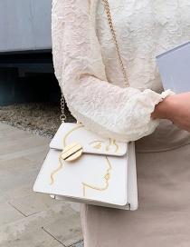 Fashion Creamy-white Chain Shoulder Crossbody Bag