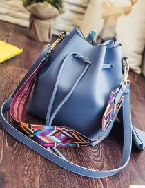 Fashion Blue Drawstring Ribbon Handbag Shoulder Crossbody Bag