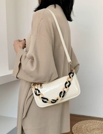 Fashion White Patent Leather Cross-body Bag