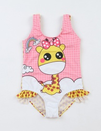 Fashion Pink Cartoon Printed Giraffe Flashing One-piece Swimsuit