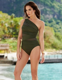 Fashion Army Green One Shoulder Mesh Swimsuit