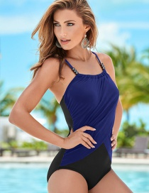 Fashion Blue Beaded Contrast Triangle One-piece Swimsuit