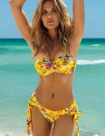 Fashion Yellow Printed Cross-pleated Lace Bandeau Split Swimsuit