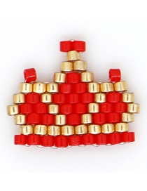 Fashion Red Rice Beads Woven King Crown Pattern Accessory