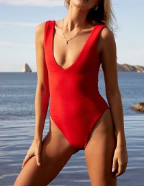 Fashion Red Backless One Piece Swimsuit