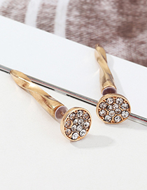 Fashion Golden Geometric Round Earrings With Zircon
