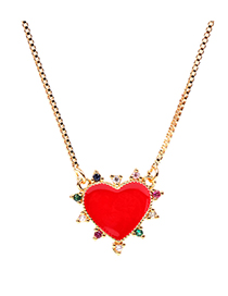 Fashion Red Dripping Love Micro-set Zircon Necklace