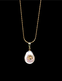 Fashion Golden Shaped Button Pearl Eye Stainless Steel Necklace