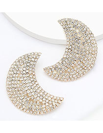 Fashion Golden Convex Alloy Moon Earrings With Diamonds
