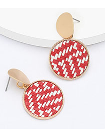 Fashion Red Multilayer Round Alloy Rattan Braided Earrings