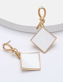 Fashion White Geometric Square Earrings With Gold Drip Oil Geometric Earrings