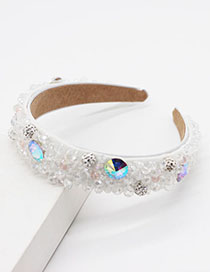 Fashion White Pearl Crystal Glitter Headband