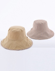 Fashion Khaki Small Plaid Double-sided Cotton Foldable Fisherman Hat