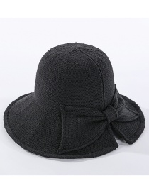 Fashion Black Milk Silk Knitted Fisherman Hat With Split Bow