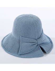 Fashion Blue Milk Silk Knitted Fisherman Hat With Split Bow