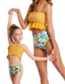 Fashion Yellow Halter Drawstring Stitching Pleated One-piece Swimsuit Adult