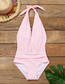 Fashion Pink Deep V Lace Up One Piece Swimsuit