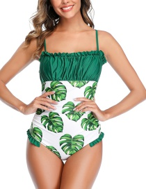 Fashion Green Pleated Fungus-paneled Printed One-piece Swimsuit