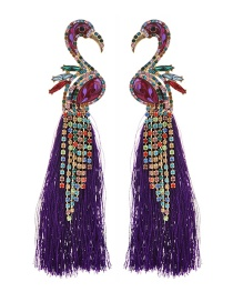 Fashion Purple Alloy Studded Flamingo Tassel Earrings