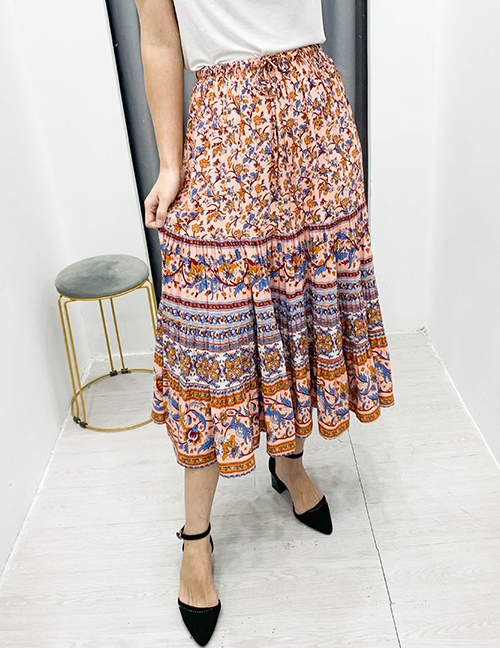 Fashion Orange Printed Lace Up Skirt