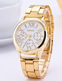 Fashion Golden White Flour Steel Strap Roman Numeral Quartz Men's Watch