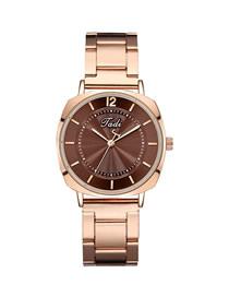 Fashion Brown Surface Striped Quartz Steel Band Watch
