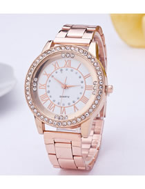 Fashion Rose Gold Roman Scale Quartz Watch With Steel Band And Diamonds