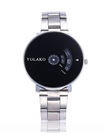 Fashion Black Face With Silver Band Large Dial Turntable Steel Band Quartz Pair Watch
