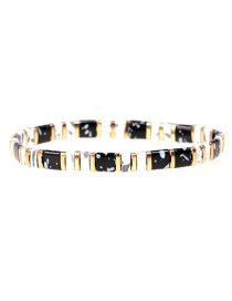 Fashion Black Beaded Lacquered Contrast Hand-woven Stretch Bracelet