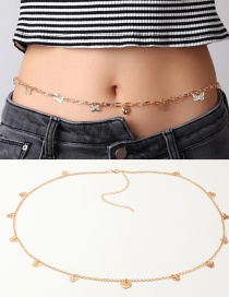 Fashion Golden Hollow Butterfly Alloy Heart Belt