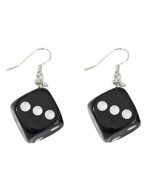 Fashion Black Funny Fun Dice Earrings Stud Earrings