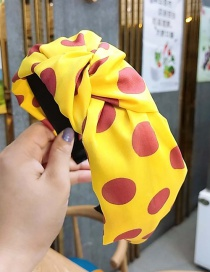 Fashion Yellow Polka Dot Fabric Knotted Non-slip Wide Edge Hair Band
