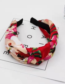 Fashion Red Wine Geranium Fabric Knotted Non-slip Wide-edge Hair Hoop