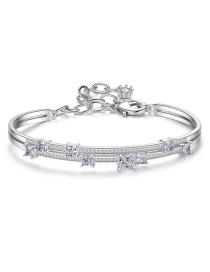 Fashion Platinum White Gold Plated Brass Bracelet With Diamonds