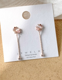 Fashion Rose Gold Tassel And Diamond Crystal Long Earrings
