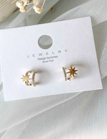 Fashion Golden Star Cutout Double Earrings With Diamonds