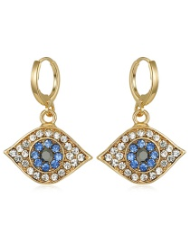 Fashion Golden Contrast Alloy Earrings With Diamond Eyes