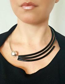 Fashion Black Fishing Line Pearl Necklace