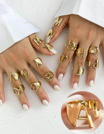 Fashion Golden A Letter Opening Adjustable Metal Ring
