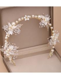 Fashion White Rhinestone Leaf Flower Hand-woven Pearl Headband