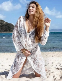 Fashion White Crochet Cutout Long Cardigan Sunscreen