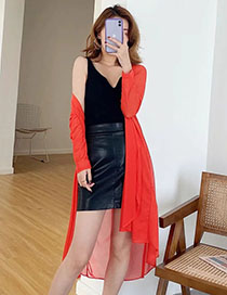 Fashion Red Mesh Cardigan Mid-length Coat