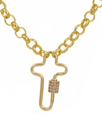 Fashion Golden Cubic Zirconia Chain Cross Necklace