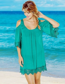 Fashion Blue-green Cotton Cotton Lace Off-the-shoulder Sun Protector