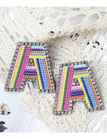 Fashion A Color Alphabet Embroidered Contrast Diamond Earrings