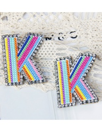 Fashion K Color Alphabet Embroidered Contrast Diamond Earrings