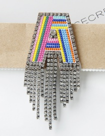 Fashion A Color Embroidered Brooch With Diamonds And Letters