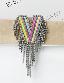 Fashion V Color Embroidered Brooch With Diamonds And Letters