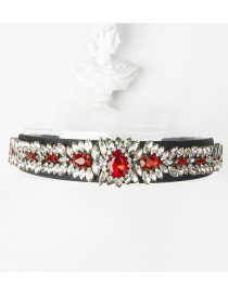 Fashion Red Copper Claw Studded Wide Flower Hoop With Diamonds